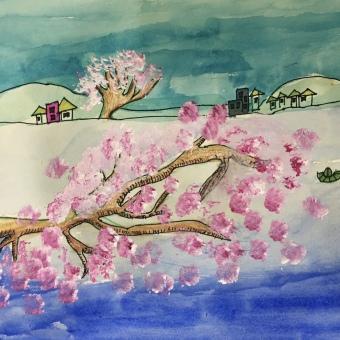 泛舟观桃花